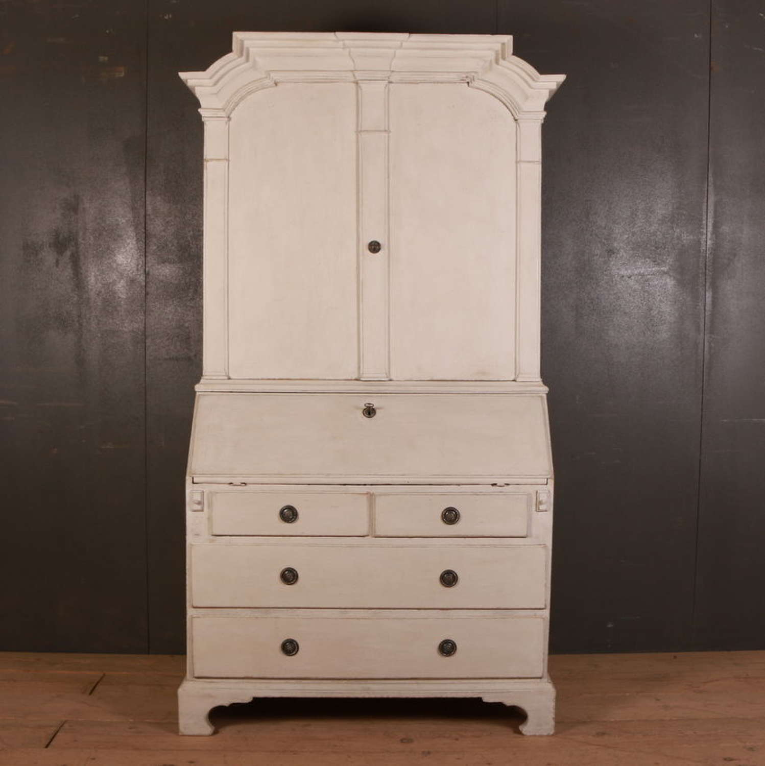 Swedish Painted Bureau Bookcase