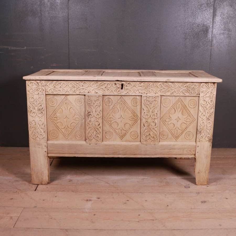 18th Century English Carved Oak Coffer
