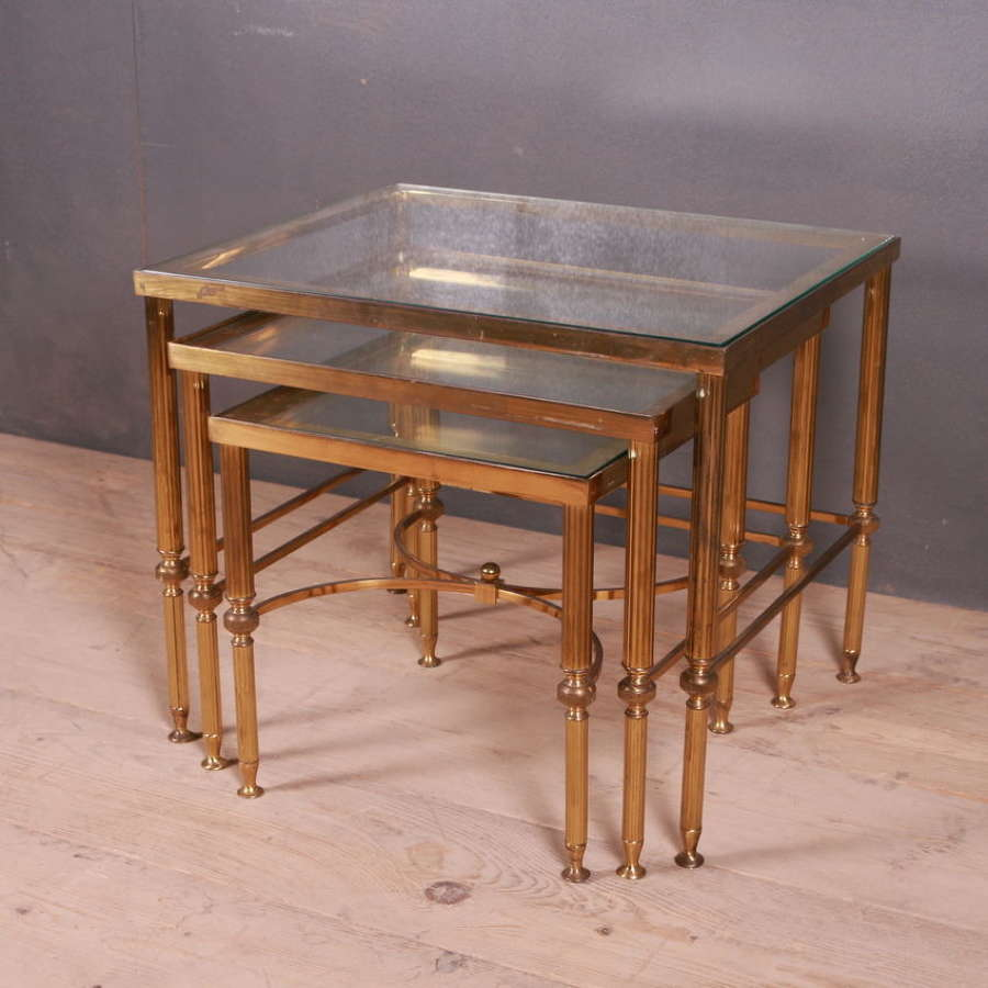 Nest of Brass and Glass Tables
