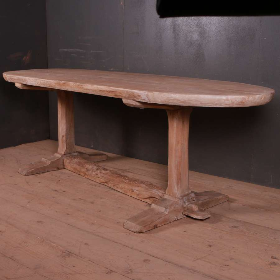 Large French Bleached Elm Trestle Table