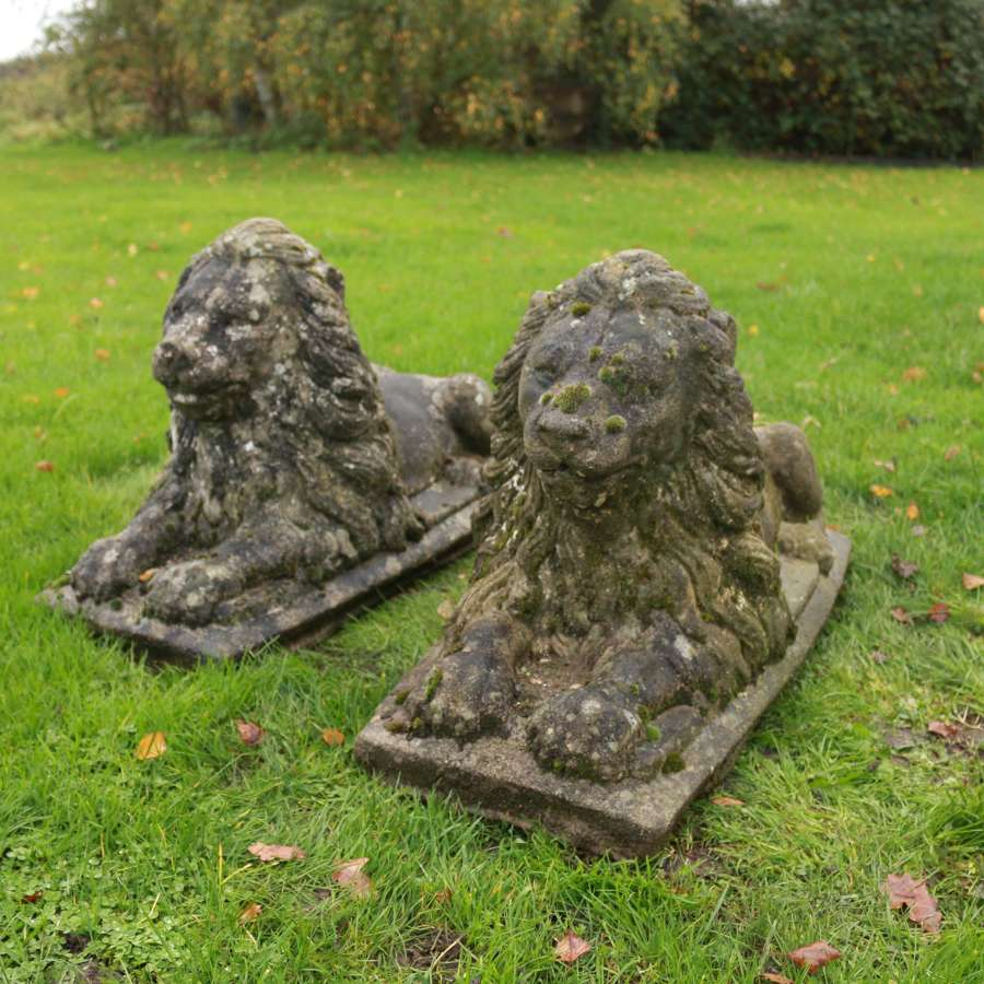 Large Pair of Stone Lions