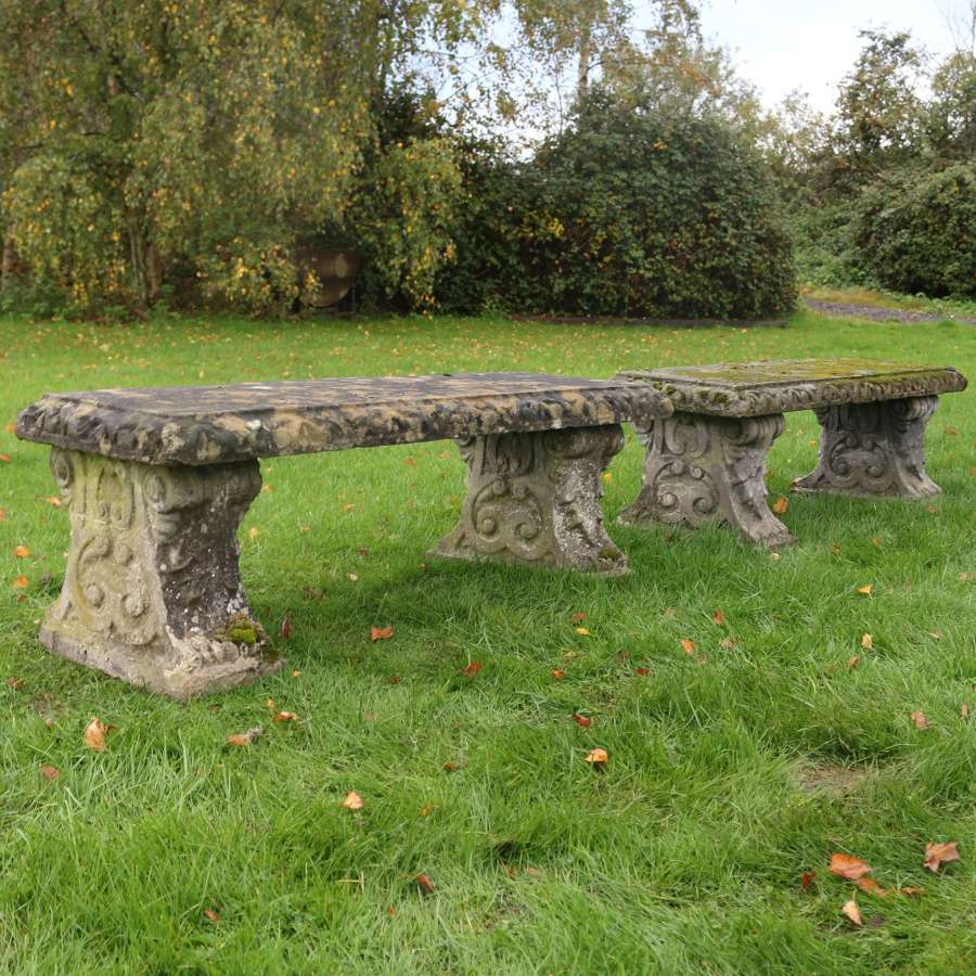 Pair of Reconstituted Stone Benches