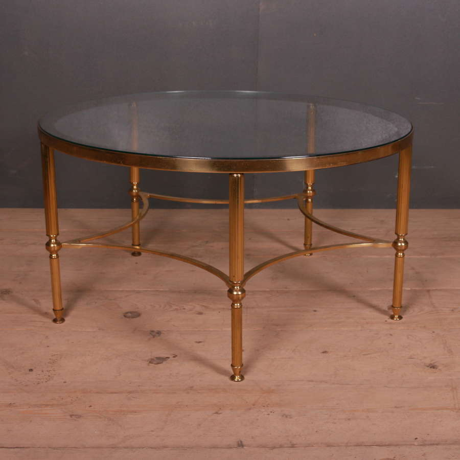 French Brass and Glass Side Table