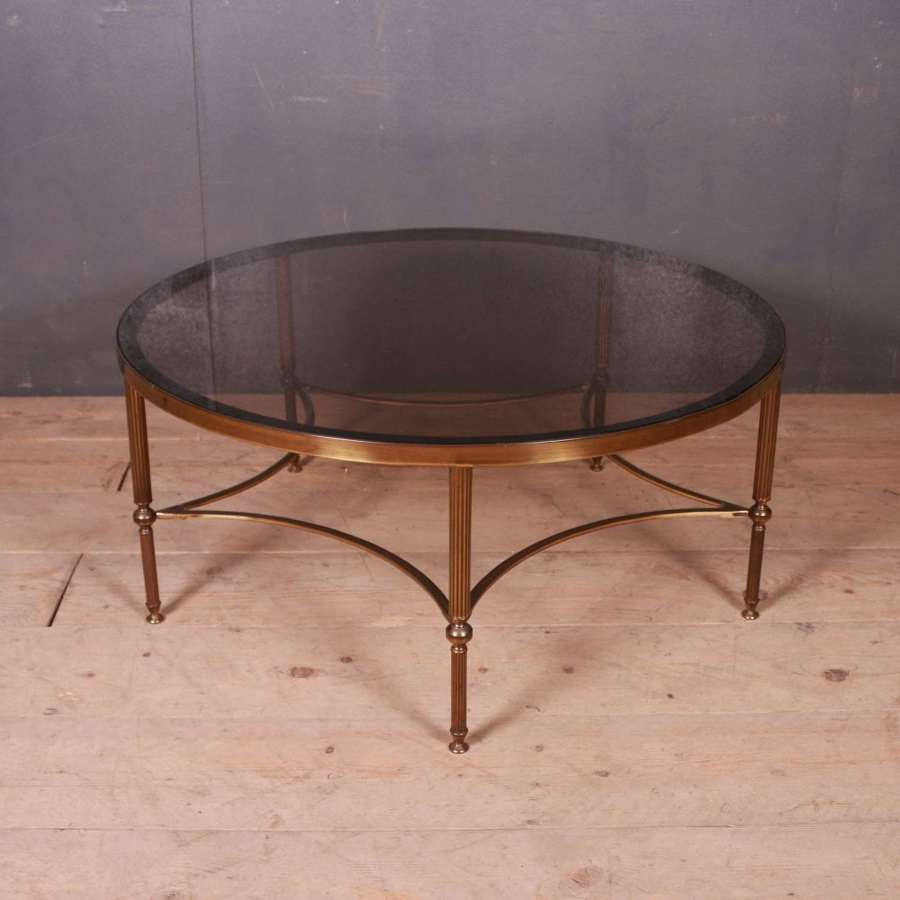 Large French Brass Circular Table