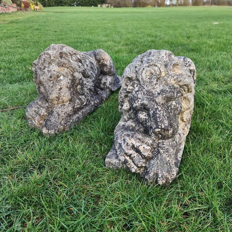 Large Reconstituted Stone Lions