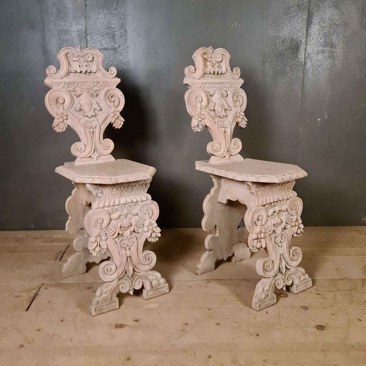 Pair of Italian Carved Oak Chairs
