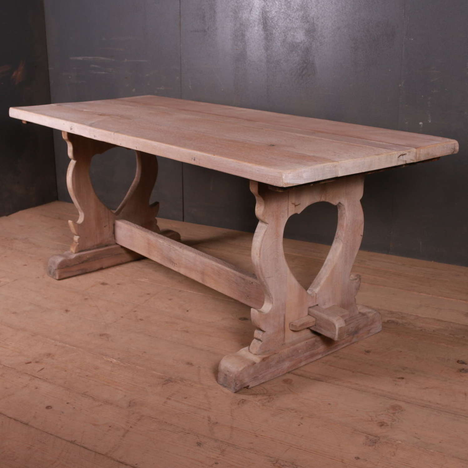 Bleached French Oak Trestle Table