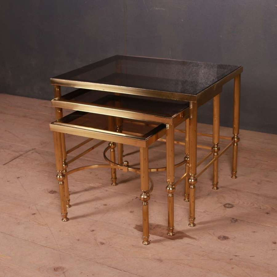 Nest of Brass and Glass Side Tables