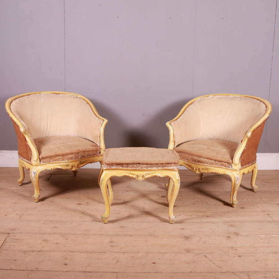Pair of 19th Century Venetian Armchairs and Stool