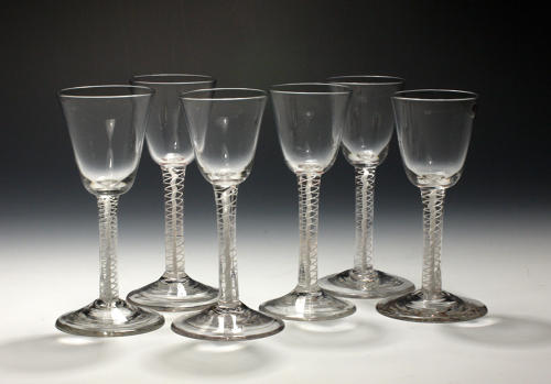 3021 A fine set six of opaque twist wine glasses