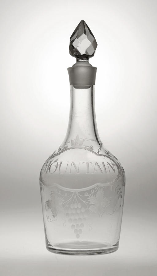 4080 A fine shouldered decanter engraved 'MOUNTAIN'
