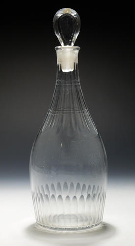 5082 An 'Indian club' decanter with  cut decoration