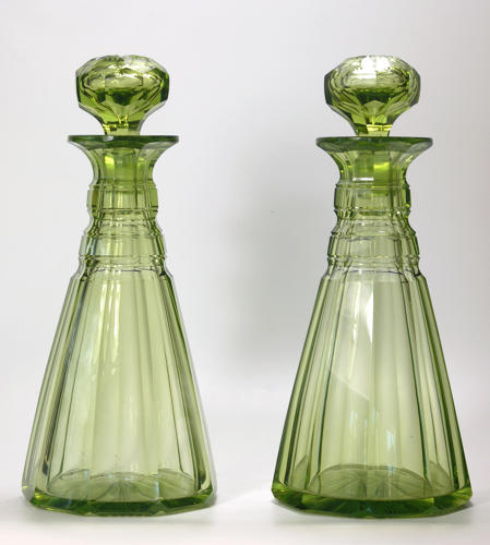 6565 A fine pair of green decanters by Richardsons