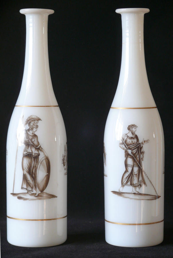 4053 A pair of opaque transfer-printed carafes by Geo. Bacchus & Son