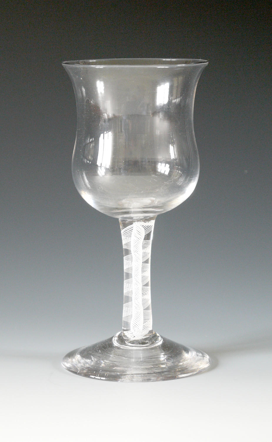 4056 A Georgian goblet with opaque twist stem and a waisted bowl