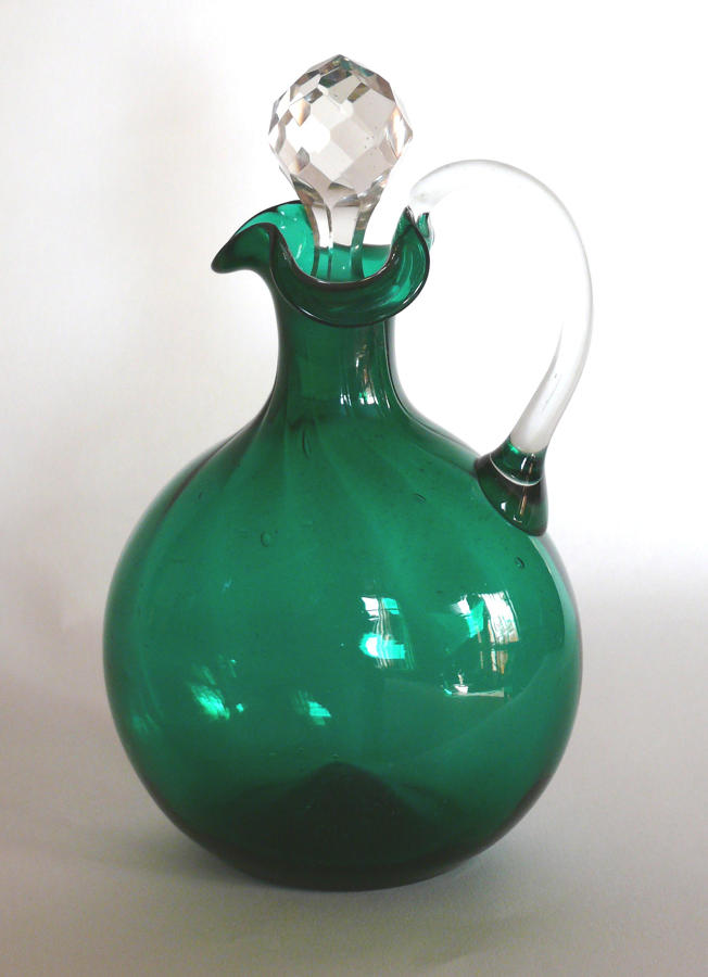 9624 A green flask wine jug