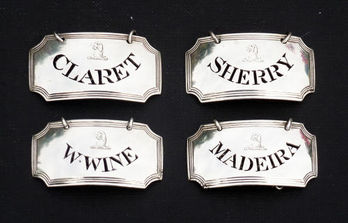 5241 A fine set of 4 silver wine labels by Robert Barker made in 1794