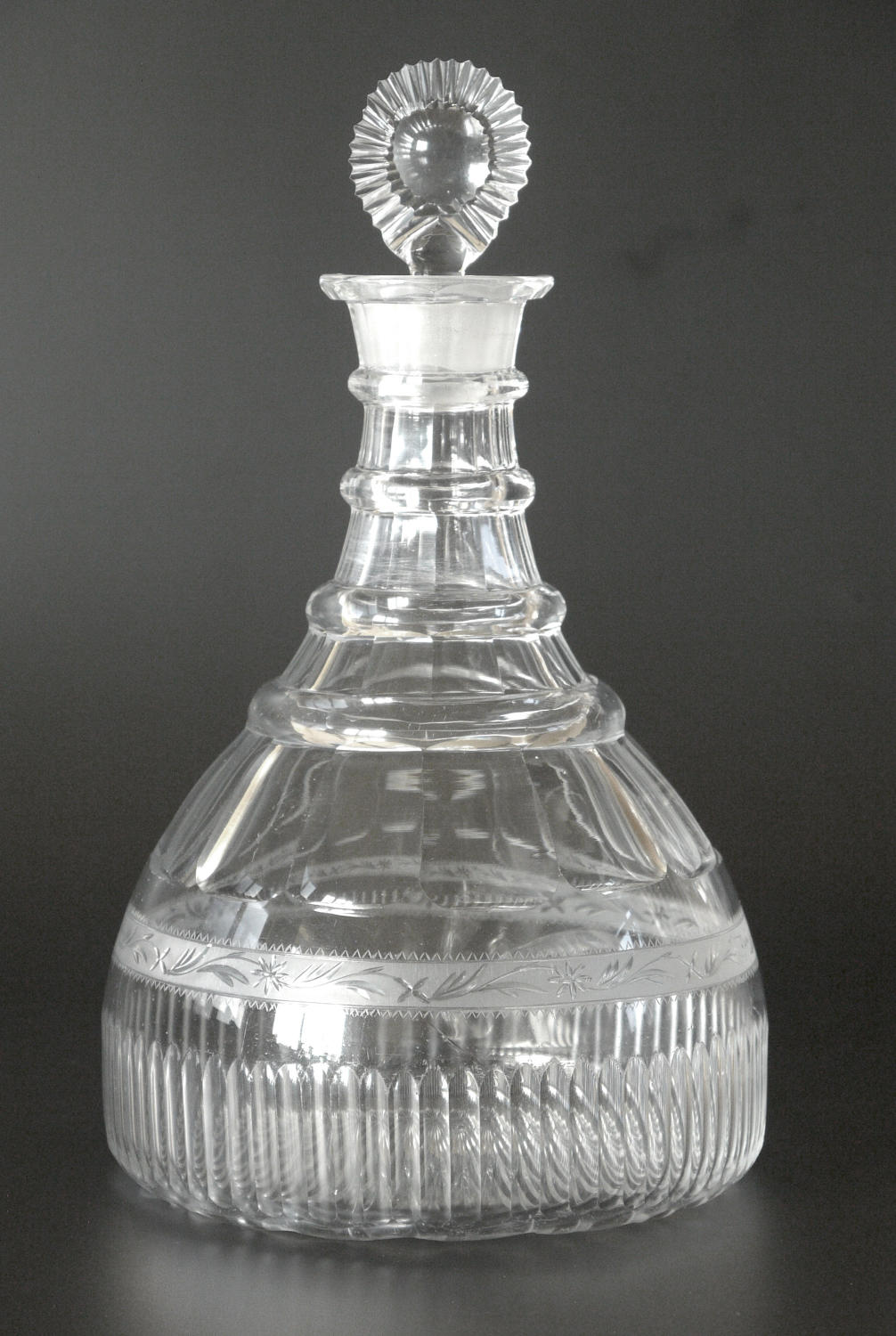 A finely engraved ship's decanter