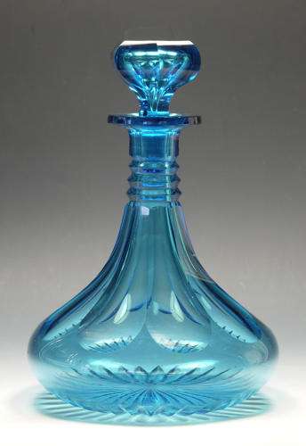 A remarkable turquoise ship's decanter