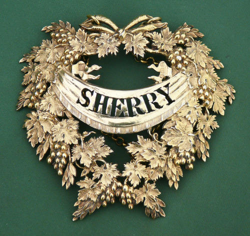 A fine silver gilt wine label for SHERRY