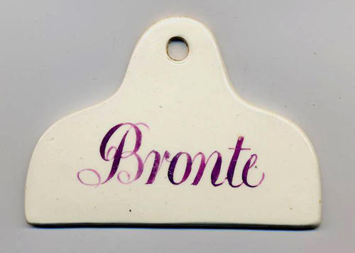 A very rare pink lustre bin label for Bronte