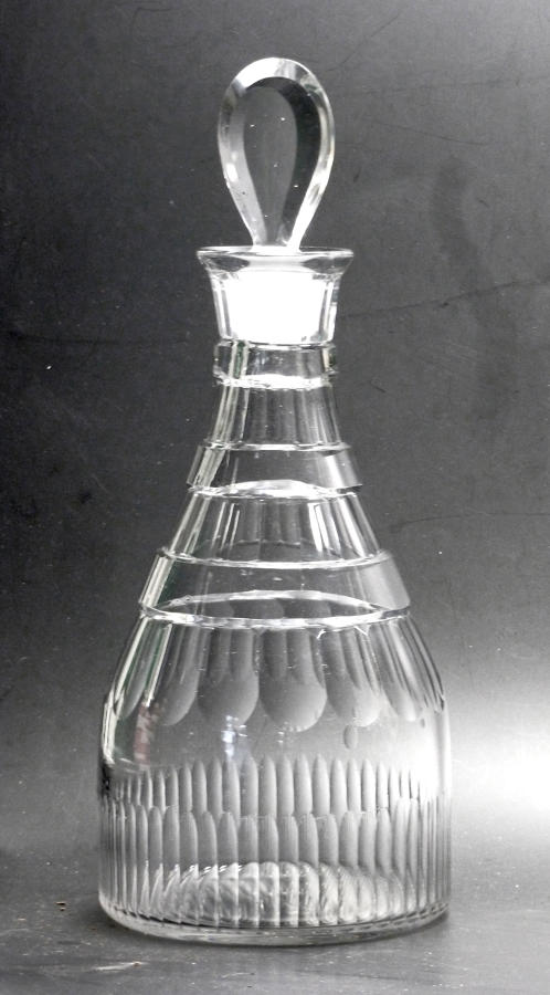 6520 A cut 'prussian' decanter with pear-shape stopper