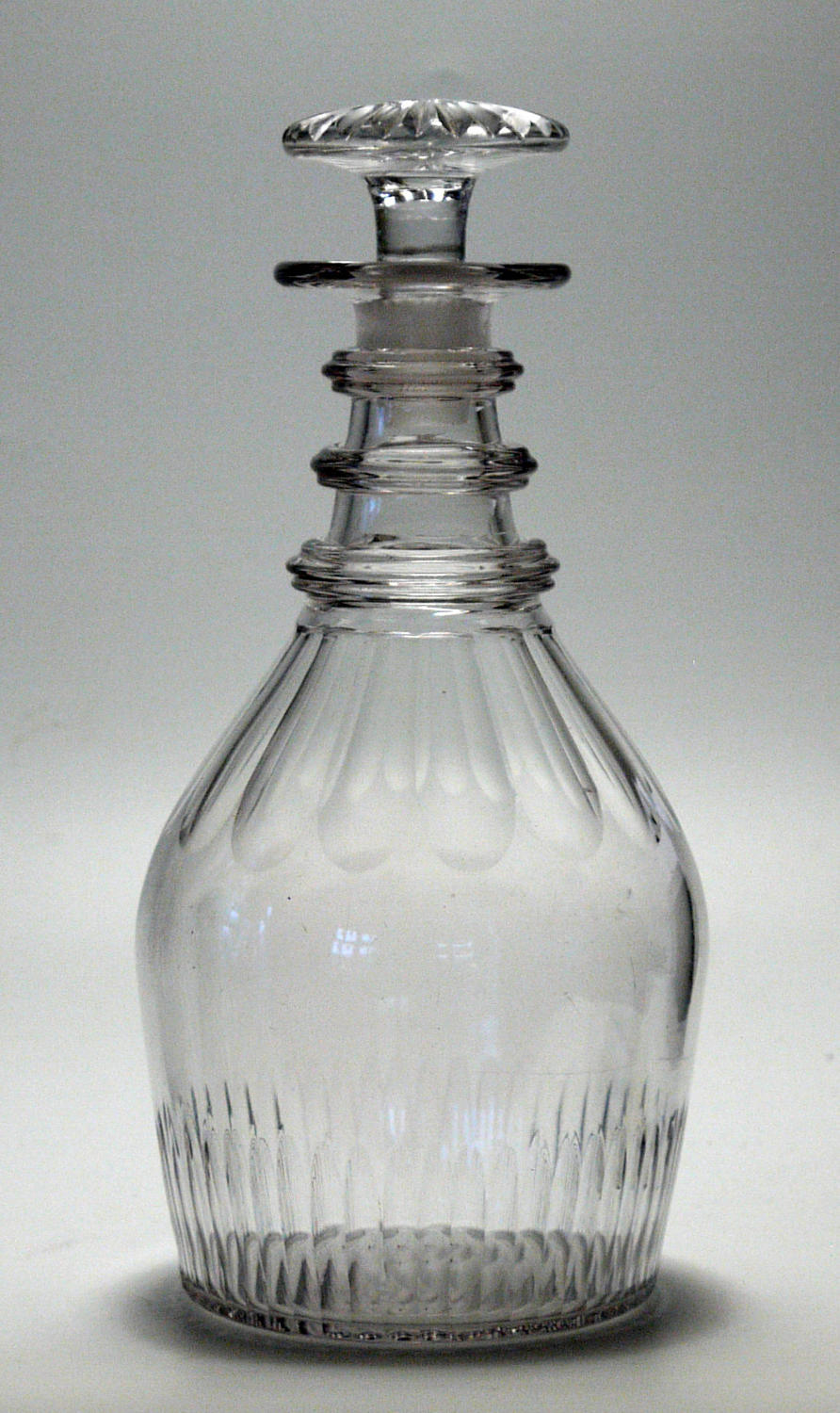 6576 A cut 'prussian'  decanter wit a mushroom stopper