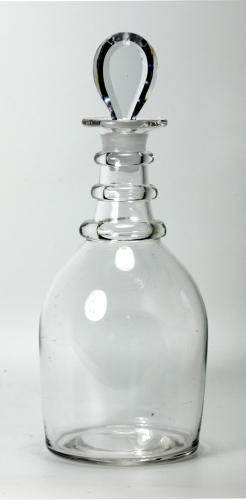 6570 A plain prussian decanter with a bevelled pear-shape stopper