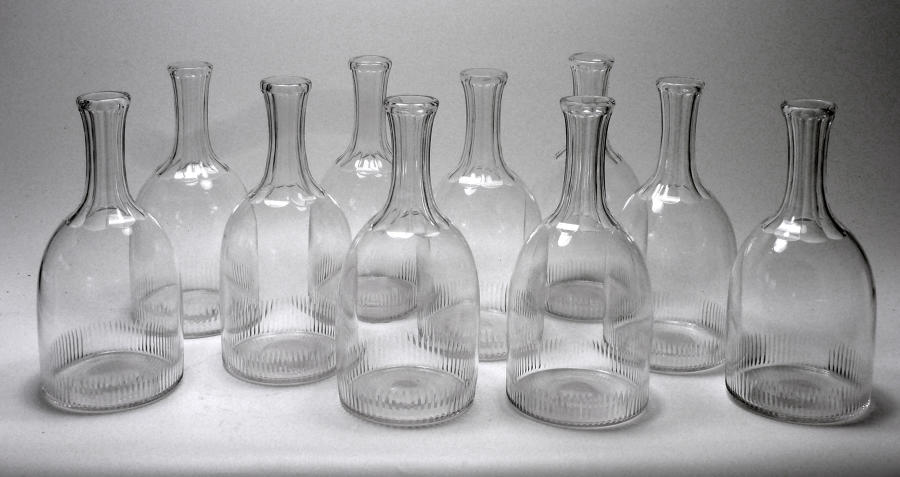 6604 An extraordinary set of 10 Georgian-style carafes.