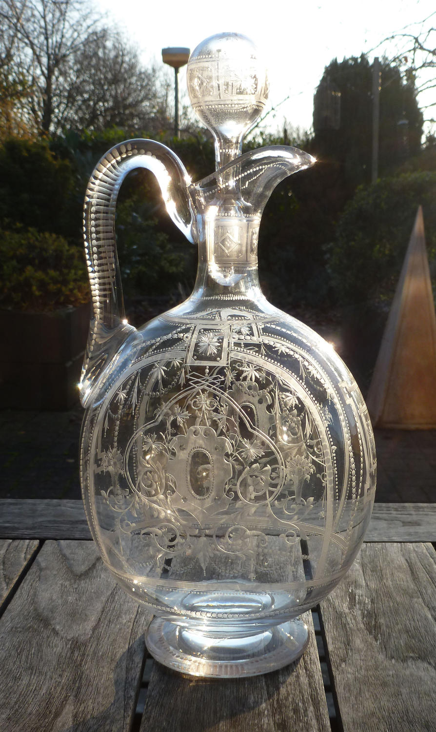 6606 A very finely engraved magnum claret jug/flask, c.1880
