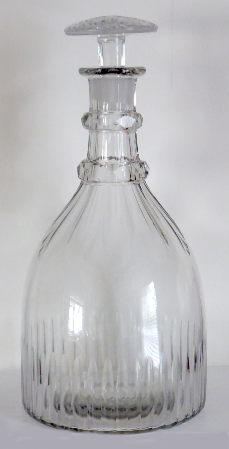 6625 A fine 'prussian' decanter with mushroom stopper.