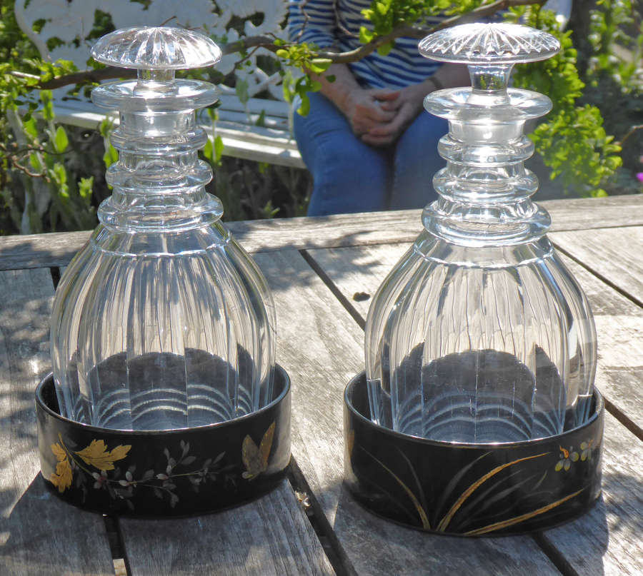 6651 A pair of panel-cut 'prussian' decanters
