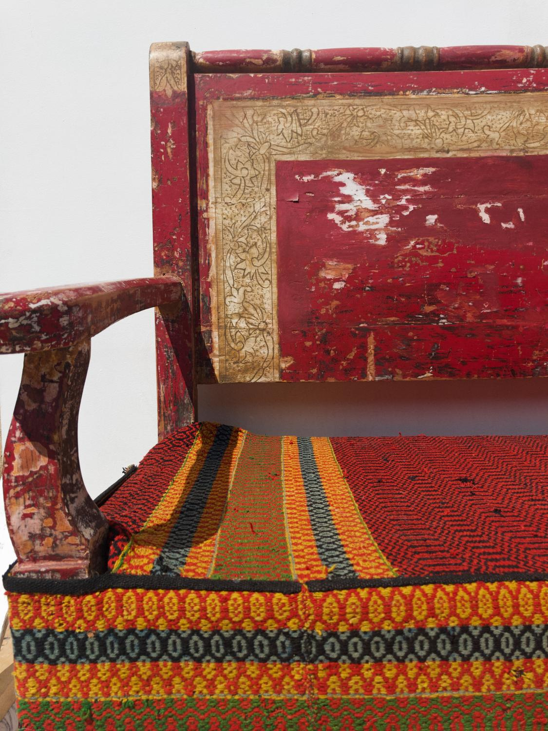 A Beautiful Red Original Painted Andalusian Bench