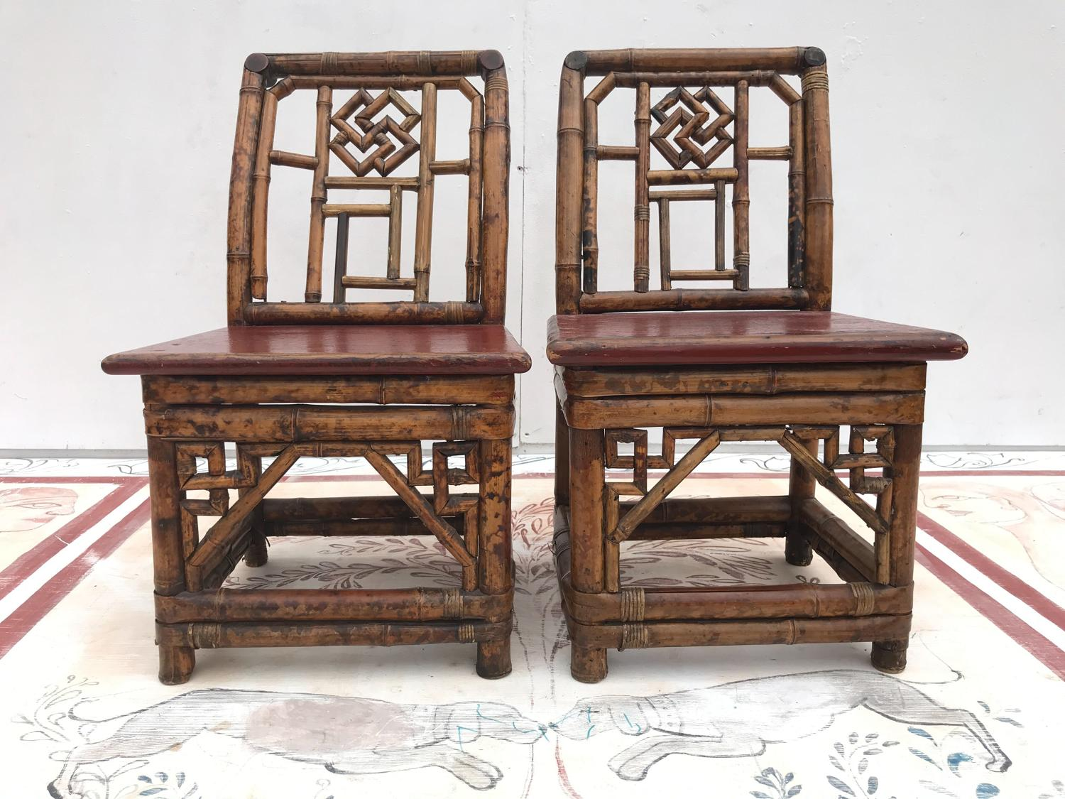 A pair of 18th century bamboo chairs