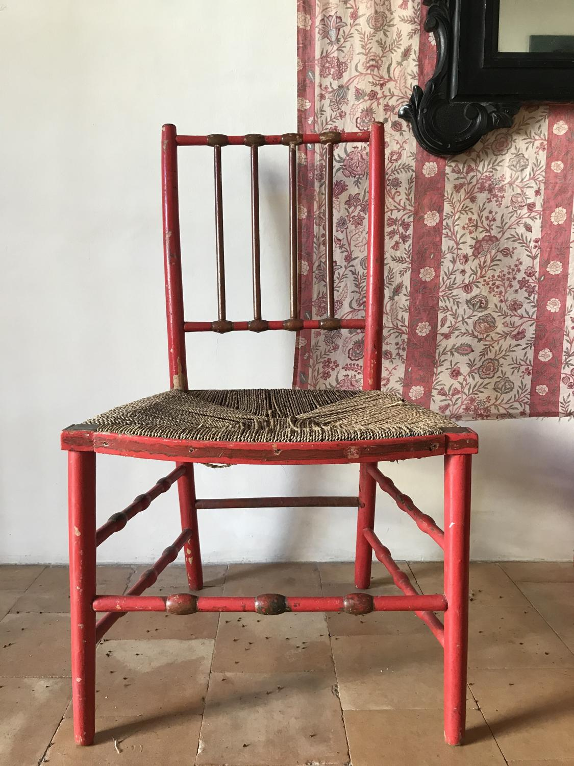 A Pair of 19th century painted red chairs