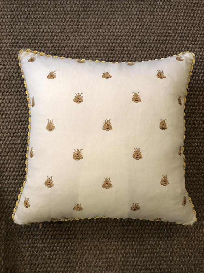 Bees Cushion Embroidered by Hand