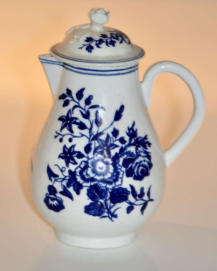 Early Worcester 'Three Flowers' Pattern Sparrow-Beak Jug and Cover c17