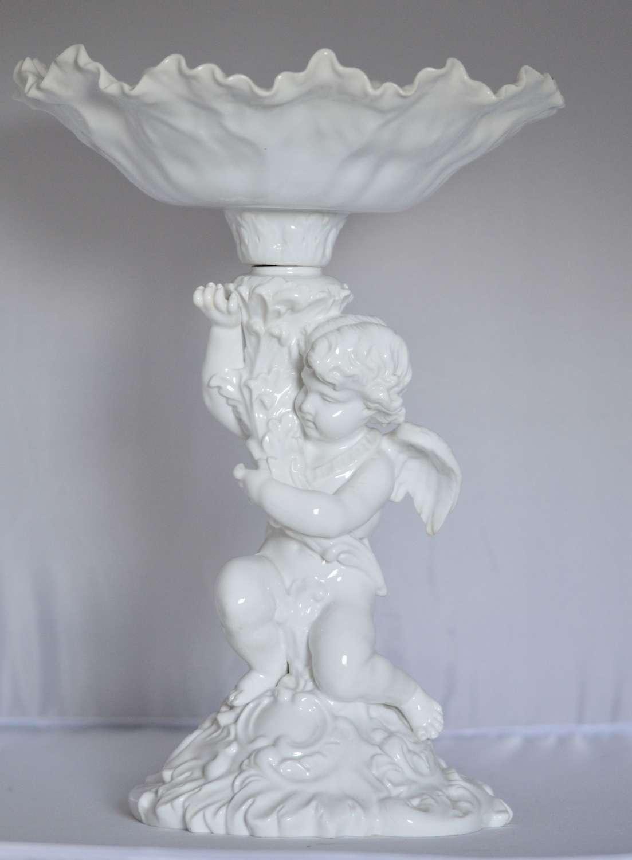 A Copeland White Glazed Porcelain Fruit Stand, Circa 1900, Modelled as