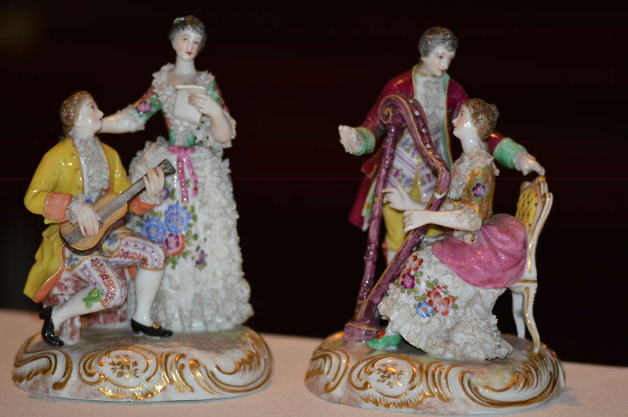German Porcelain Figures Of Courting Couples Late C19/early C20