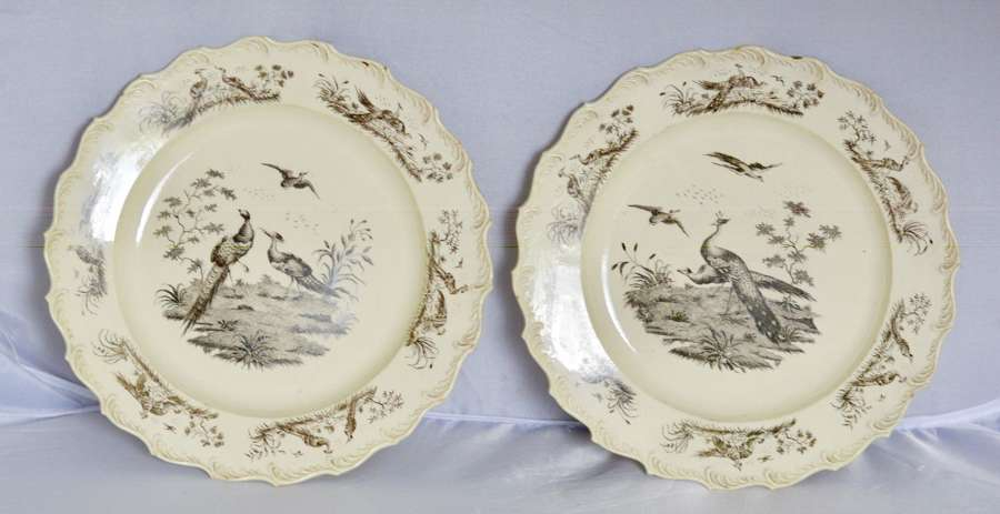 Superb Pair of 18th Century Wedgwood Printed Creamware Dessert Plates