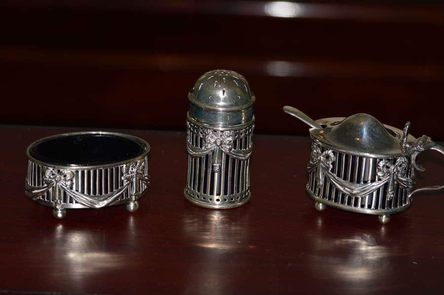 An Edwardian Silver Three Piece Cruet Set by Birmingham's E S Barnsley