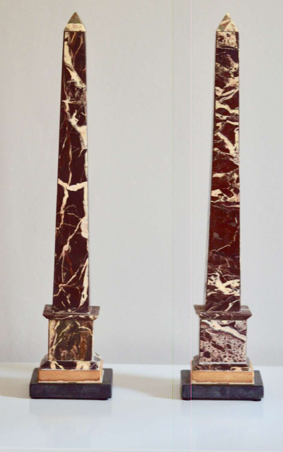 Pair of 19th Century 'Grand Tour' Figured Griotte Marble Obelisks