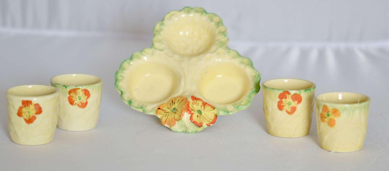 Primula pattern, Pottery 3 Egg Cup Tray c1920/30 Primula pattern