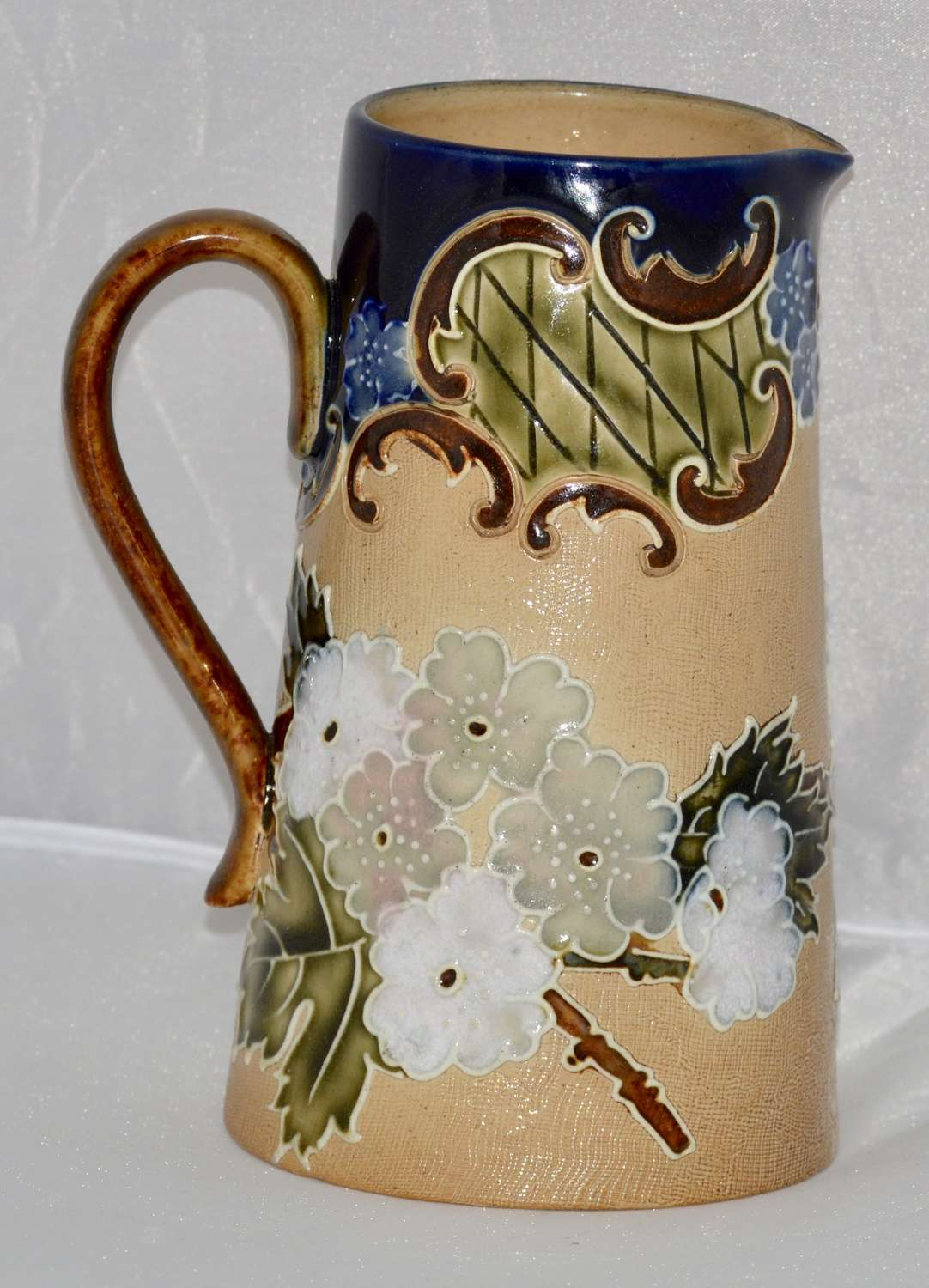 C1895 Royal Doulton Lambeth Stoneware Tall Jug - Slaters Floral Design