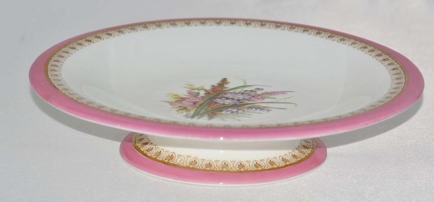 1879 Royal Worcester Hand Painted Pedestal Dish / Floral Pink and Gold