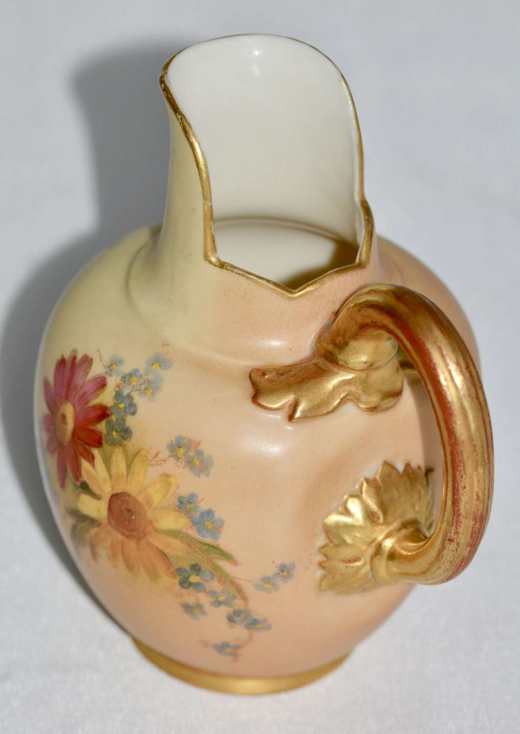 1908 Royal Worcester Blush Ivory Flat Back Jug