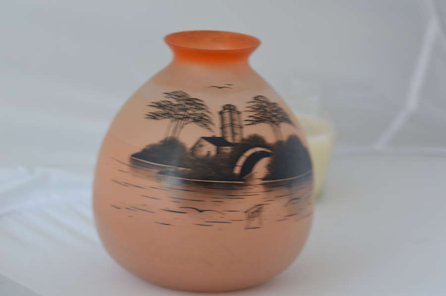 Art Deco Handprinted on Opaque Glass Vase signed JOMA from around 1930