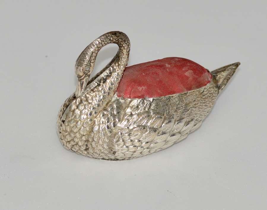 921 Solid Silver Swan Pin Cushion by Adie & Lovekin