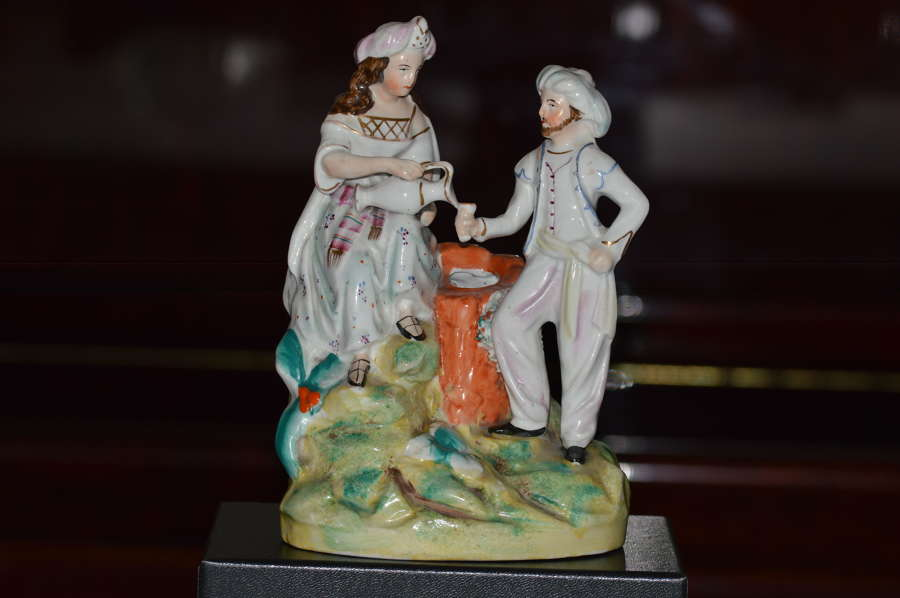 Staffordshire Thomas Parr Figure of Rebekah + Abrahams Servant by Well