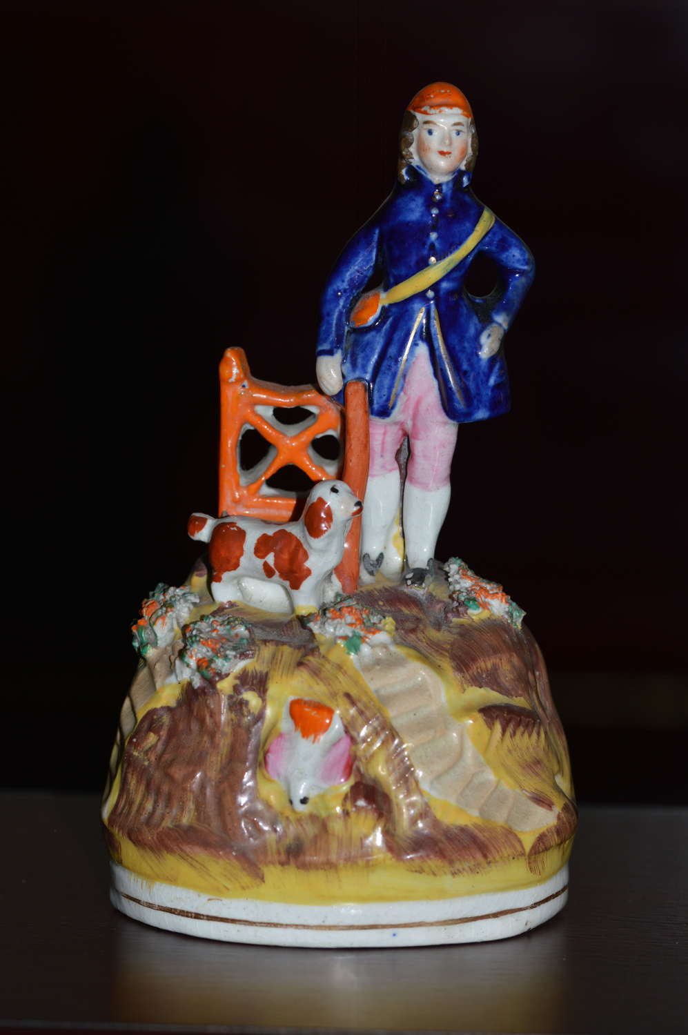 C1860 Victorian Staffordshire Figure Hunter with Gun on a Small Hill